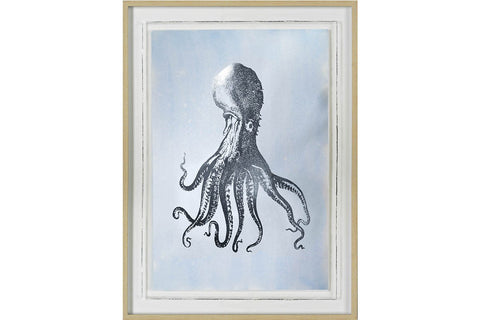 Silver Foil Octopus I on Blue Wash Artwork