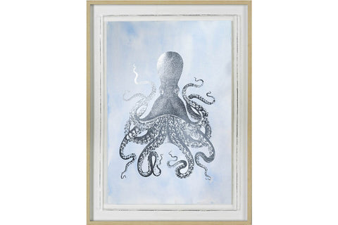 Silver Foil Octopus II on Blue Wash Artwork