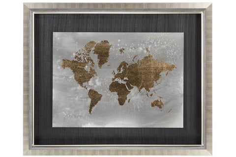 Gold Foil World Map on Black  | Framed Art | Jordans Home