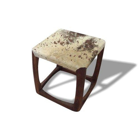 Leather & Wood Stool - Jordans Home