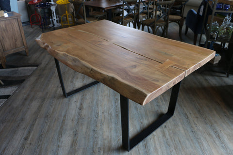"60"" Live Edge Dining Table - Butterfly Joint - Jordans Home"