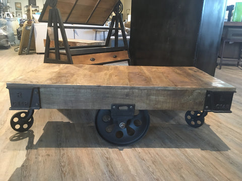 Iron Wooden Cart Coffee Table - Jordans Home