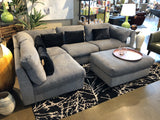 Fabric Sectional with Black Accent Cushions - Jordans Home