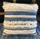 Boho Throw Pillow - Blue Fringe Accents