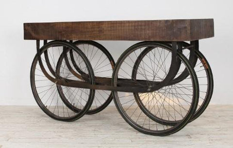 Iron Wooden Big Wheeled Console - Jordans Home