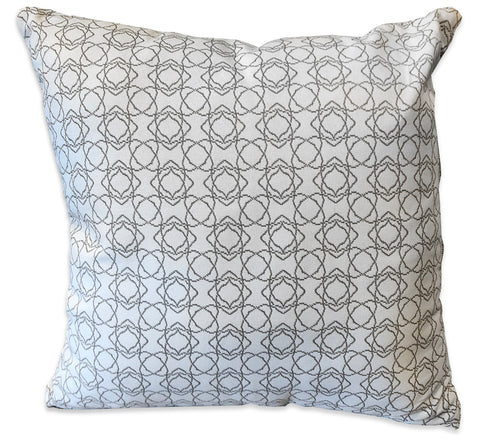 White Geometric - Patio Pillow