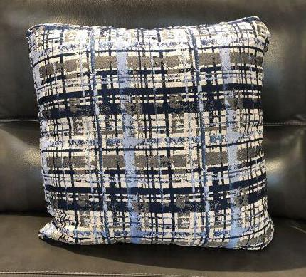 Blue Grey Fabric Toss Pillow