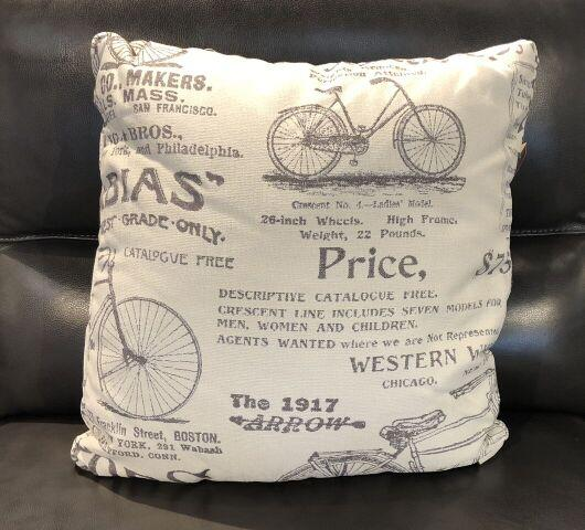 Bike Ad Fabric Toss Pillow