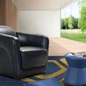 Upholstered Leather Arm Chair - Jordans Home