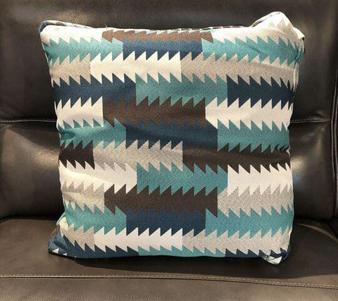 Blue Green Fabric Toss Pillow