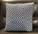 Blue Rhombus Tiles Fabric Toss Pillow - Jordans Home