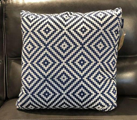 Blue Rhombus Tiles Fabric Toss Pillow