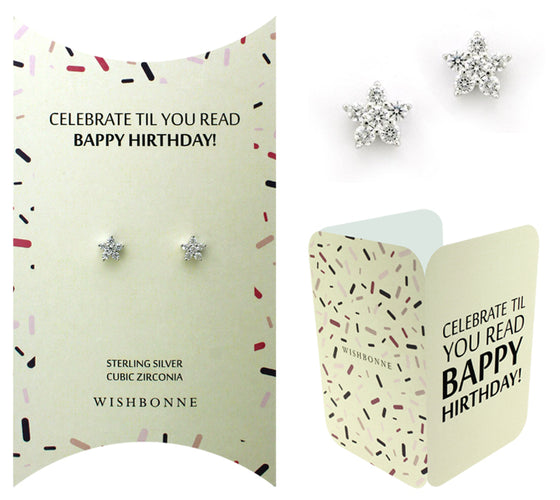 Perfect Gift for birthday Flower Stud Earring Message Card Included