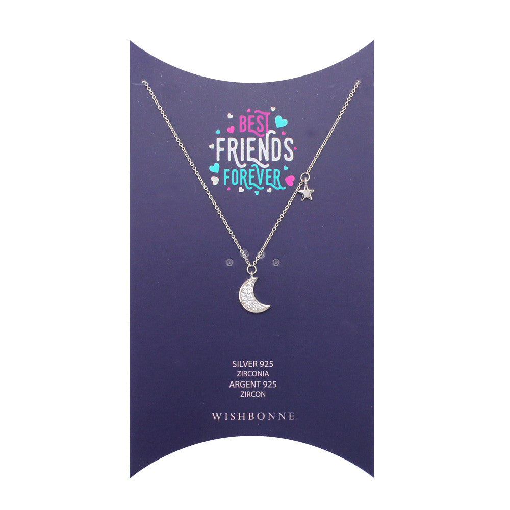 Sterling Silver Moon and Stars Pendant Necklace