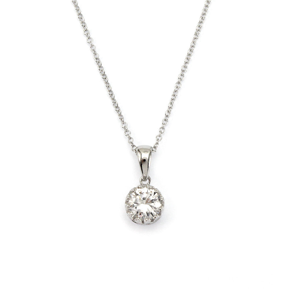 round solitaire blue pendant solitare necklace diamond birks en