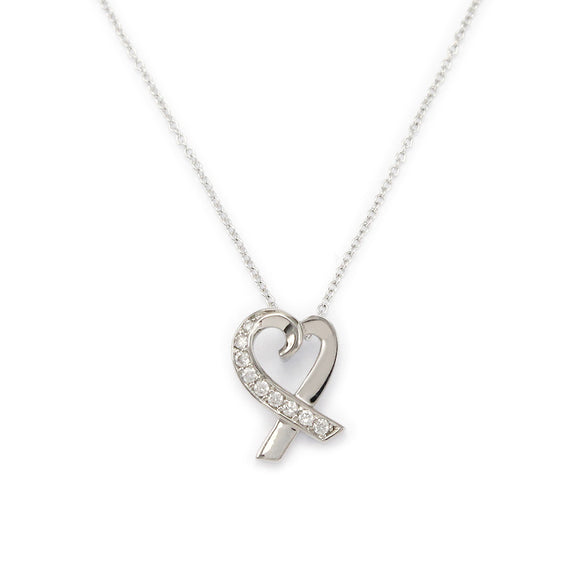 Sterling Silver Ribbon Heart Pendant Necklace