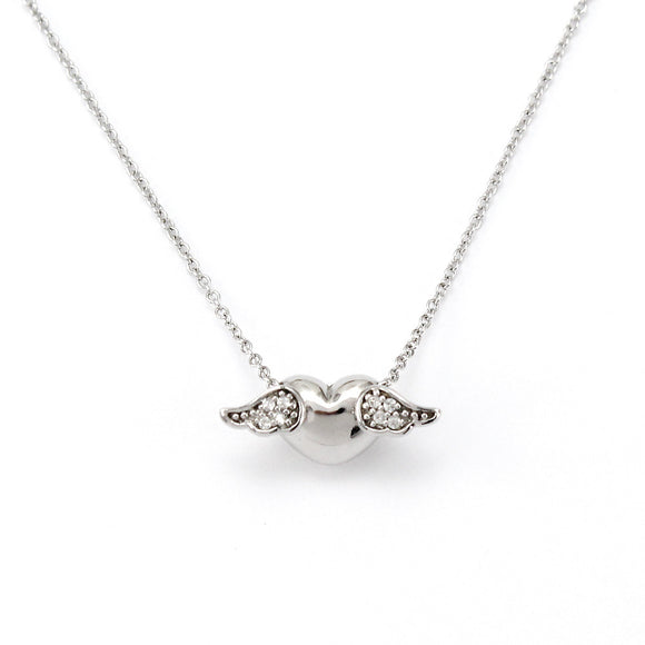 Sterling Silver Winged Heart Pendant Necklace