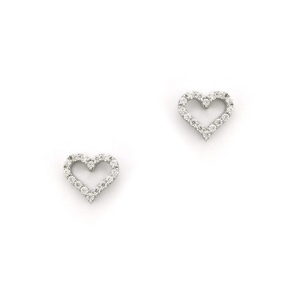 Sterling Silver Classic Hearts Stud Earrings