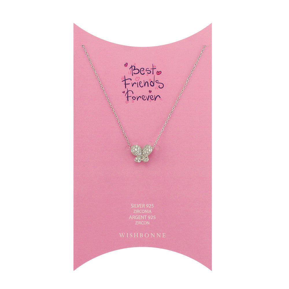 Sterling Silver Pave Butterfly Necklace