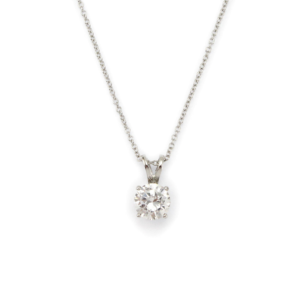 diamond platinum shape necklace solitare in single solitaire pendant setting bale heart