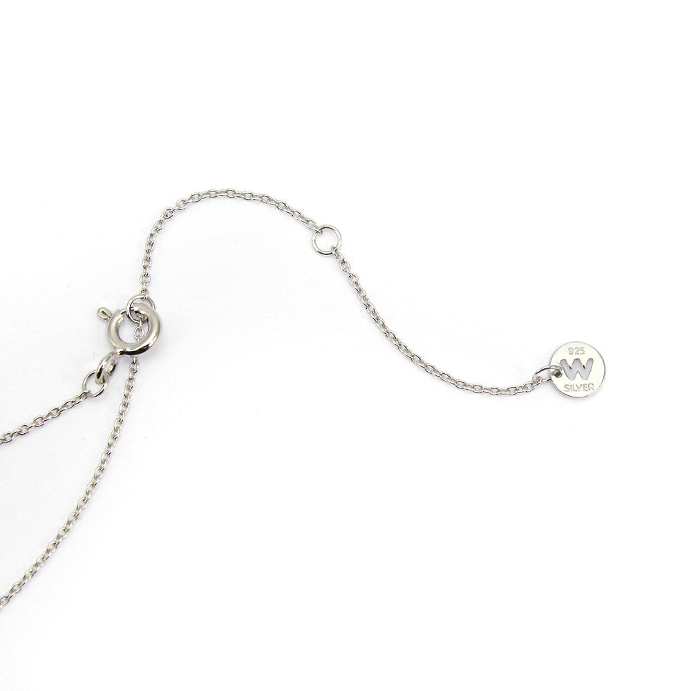 Sterling Silver Wish Pave Stone Necklace