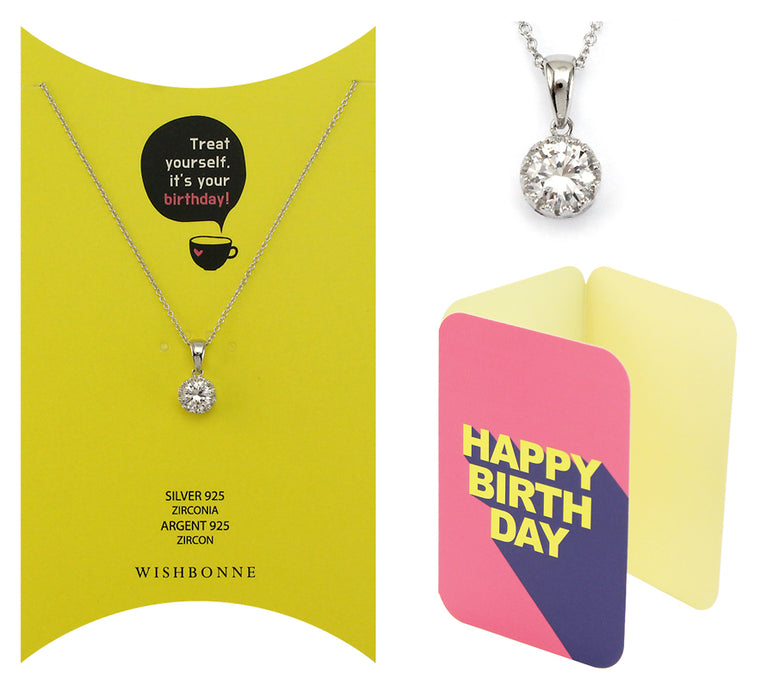Perfect Gift for birthday Solitaire Pendant Necklace Message Card Included