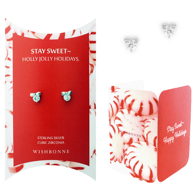 Perfect Gift for Christmas Bow Solitaire Stud Earrings Message Card Included