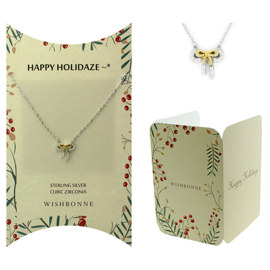 Perfect Gift for Christmas Holiday 2-Tone Bow Necklace Message Card Included