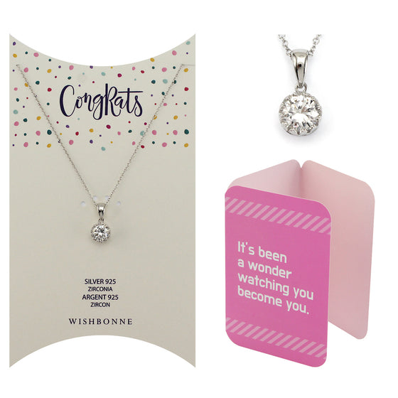 Perfect Gift for anyone Solitaire Pendant Necklace Message Card Included