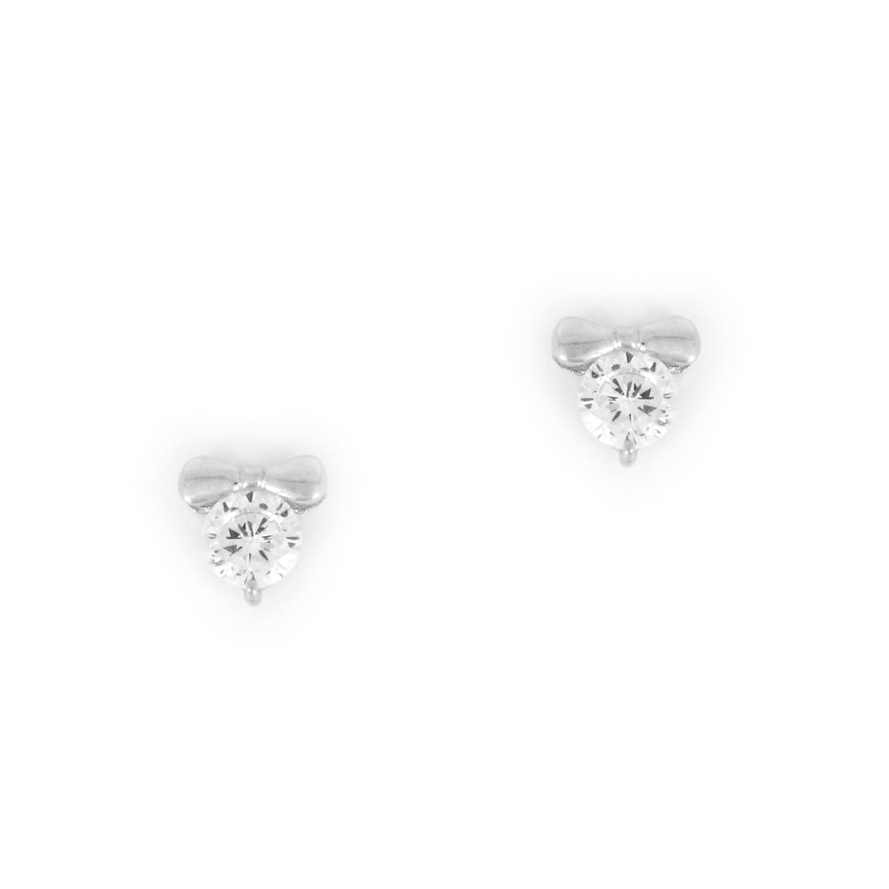Sterling Silver Bow Solitaire Stud Earrings