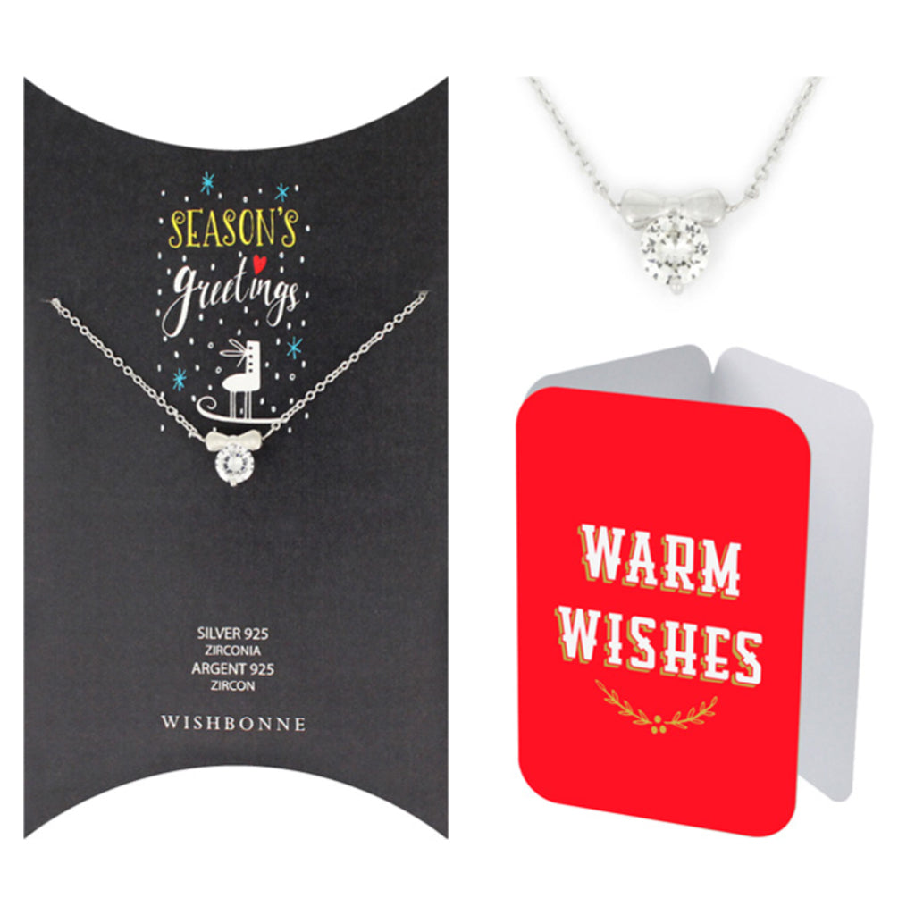 Perfect Gift for Christmas Bow Solitaire Pendant Necklace Message Card Included