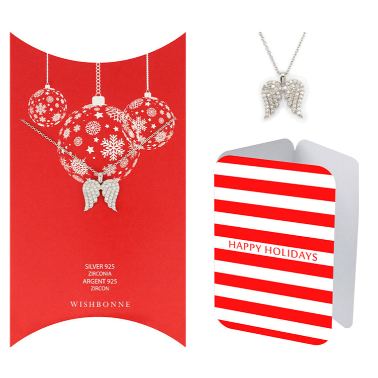 Perfect Gift for Christmas Holiday Angel Wing Necklace Message Card Included