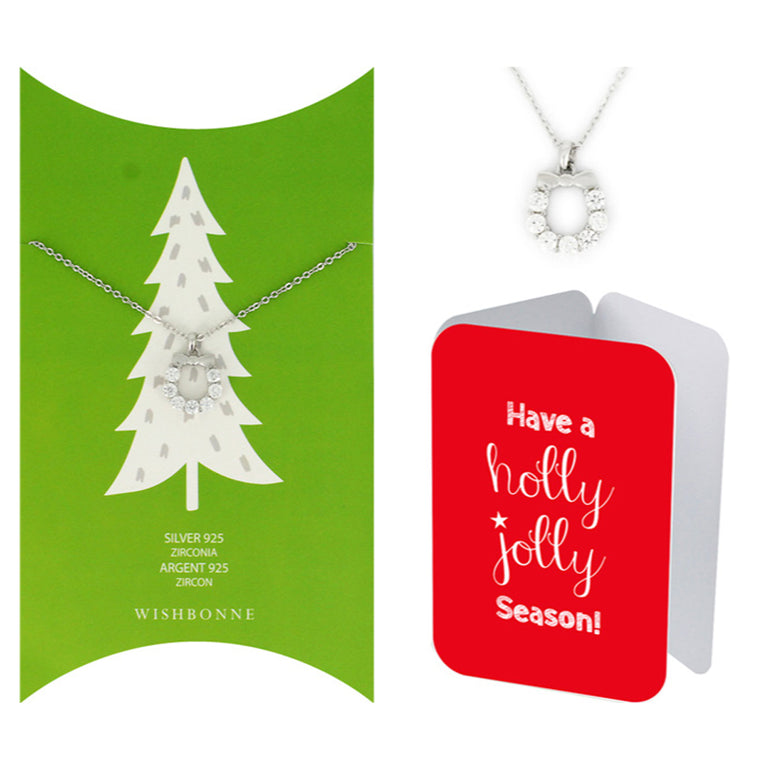 Perfect Gift for Christmas Holiday Wreath Necklace Message Card Included