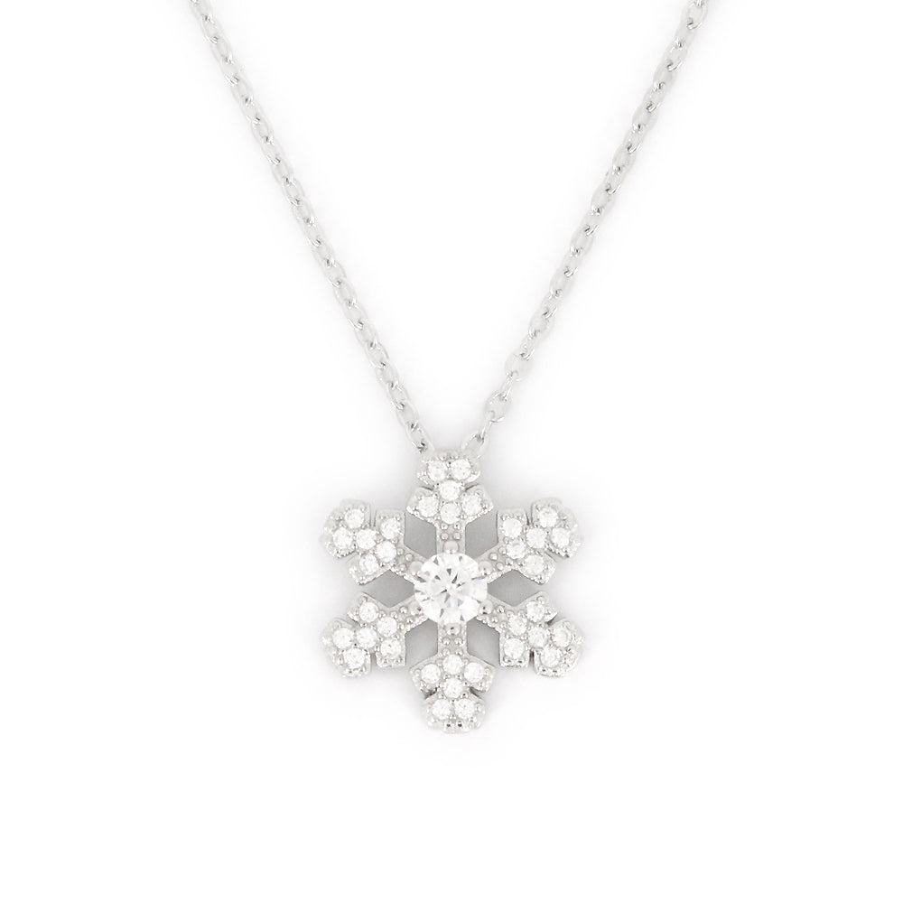 glitter in back stock silver steel stainless necklace product snowflake