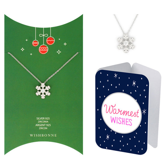 Perfect Gift for Christmas Snowflake Pendant Necklace Message Card Included