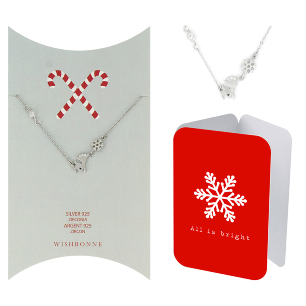 Perfect Gift for Christmas Reindeer and Snowflake Pendant Necklace Message Card Included