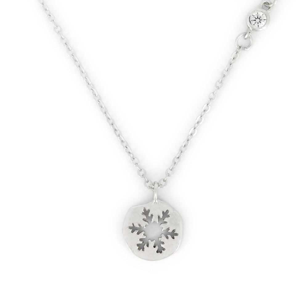 Sterling Silver Round Snowflake Pendant Necklace