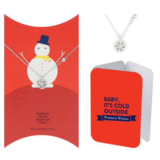 Perfect Gift for Christmas Round Snowflake Pendant Necklace Message Card Included
