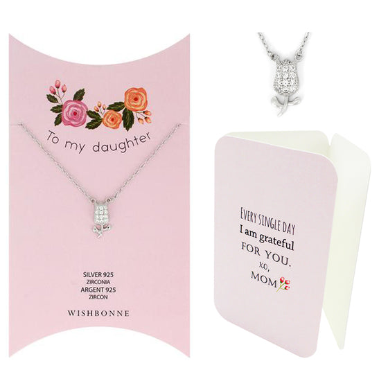 Perfect Gift for Daughter Tulip Pendant Necklace Message Card Included