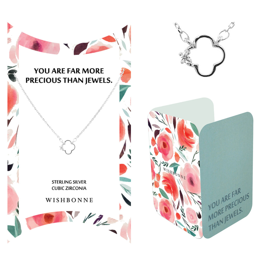 Perfect Gift for Anyone Hollow 4 Clover Necklace Message Card Included