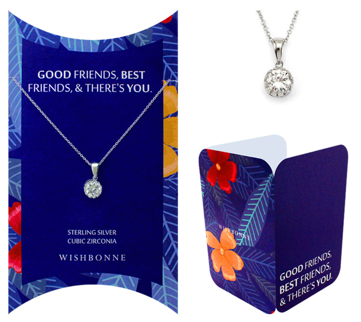 Perfect Gift for Friends Solitaire Pendant Necklace Message Card Included