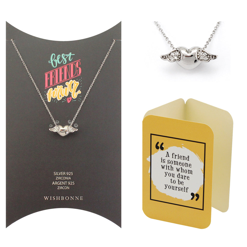 Perfect Gift for Friends Winged Heart Pendant Necklace Message Card Included
