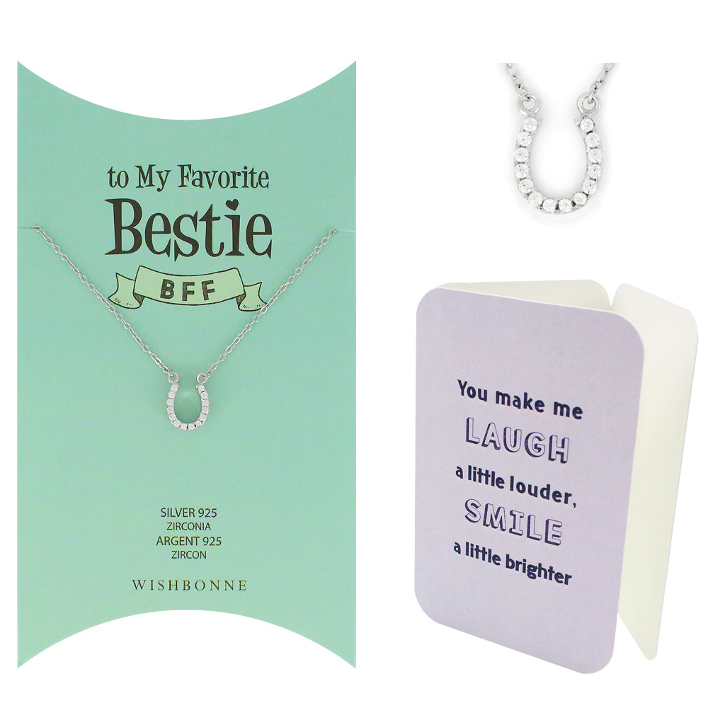 Perfect Gift for Friends Horse shoe Pendant Necklace Message Card Included