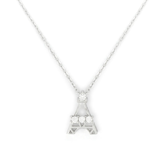 Sterling Silver Eiffel Tower Pendant Necklace
