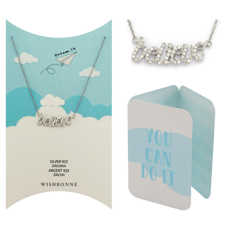 Perfect Gift for anyone Believe Pendant Necklace Message Card Included