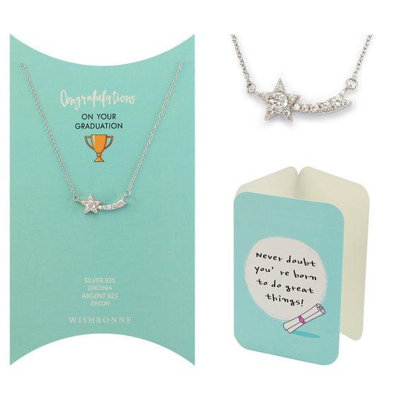 Perfect Gift for anyone Shooting Star Pendant Necklace Message Card Included