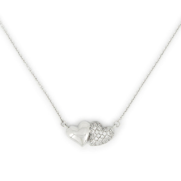 Sterling Silver Double Heart Pendant Necklace