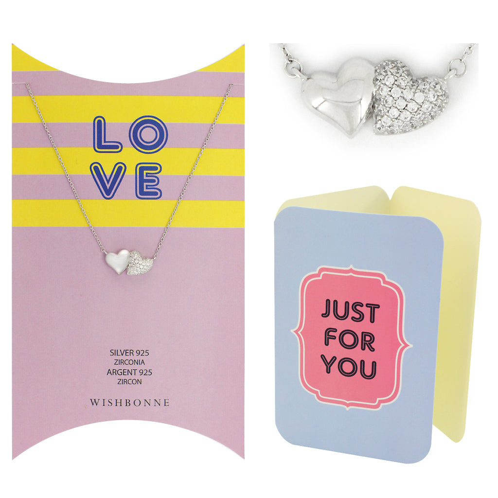 Perfect Gift for Loved One Double Heart Pendant Necklace Message Card Included
