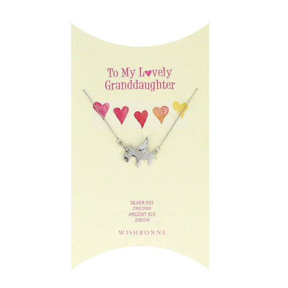 Perfect Gift for granddaughter Unicorn Pendant Necklace Message Card Included