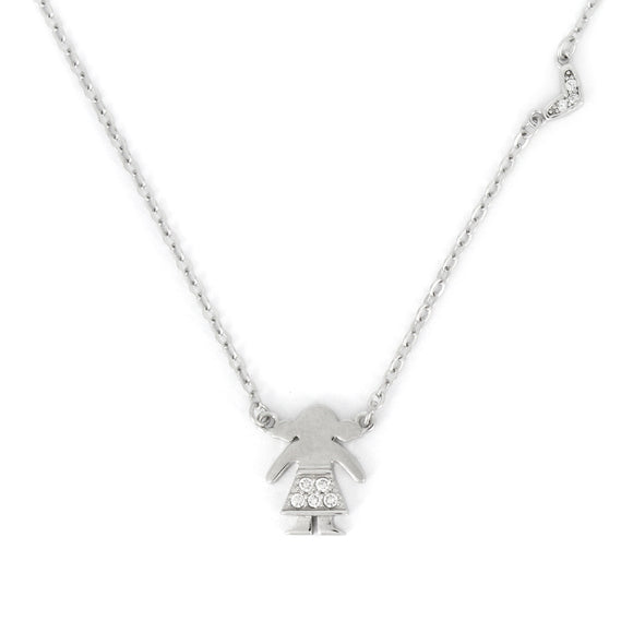 Sterling Silver Girl Pendant Necklace